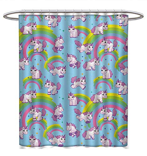 (Unicorn Shower Curtain Collection by Repeating Pattern Mystical Ancient Beast Purity Grace Friendship Symbol Graphic Art Satin Fabric Sets Bathroom W54 x L78 Multicolor)