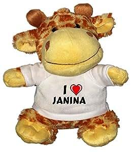 Jirafa de peluche (juguete) con Amo Janina en la camiseta (nombre de pila/apellido/apodo)