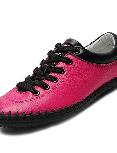 ZQ Scarpe Donna-Stringate-Casual-Comoda-Piatto-Di pelle-Nero / Beige / Fucsia , black-us6.5-7 / eu37 / uk4.5-5 / cn37 , black-us6.5-7 / eu37 / uk4.5-5 / cn37 black-us7.5 / eu38 / uk5.5 / cn38