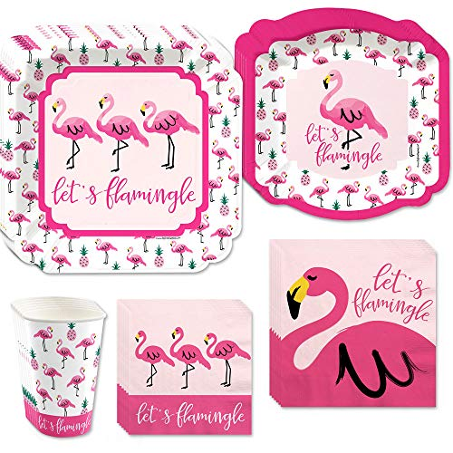 Big Dot of Happiness Pink Flamingo - Party Like a Pineapple - Tropical Summer Tableware Plates, Cups, Napkins - Bundle for 16 -