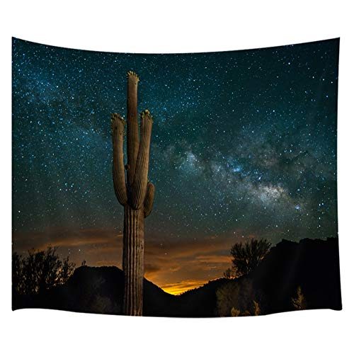 KOTOM Cactus Tapestry, A Saguaro Cactus Stands in The Desert Beneath The Milky Way Tapestries, Wall Art Hanging for Bedroom Living Room Dorm 71X60Inches Wall Blankets