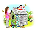 My Little House Cardboard Playhouse - Large Corrugated Color In Coloring Play House for Kids - 2.8 Feet Tall, Easy Assembly, Fast Fold - by Spiritoy