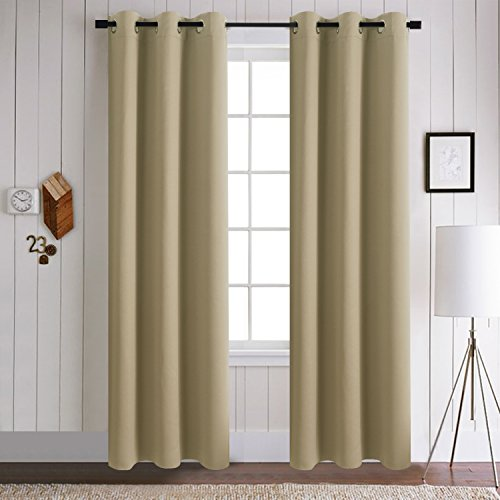 Aquazolax Grommets Thermal Insulated Solid Blackout Window Drape Curtains For Kids Bedroom 2 Panels 42inch X 84inch Taupe Khaki