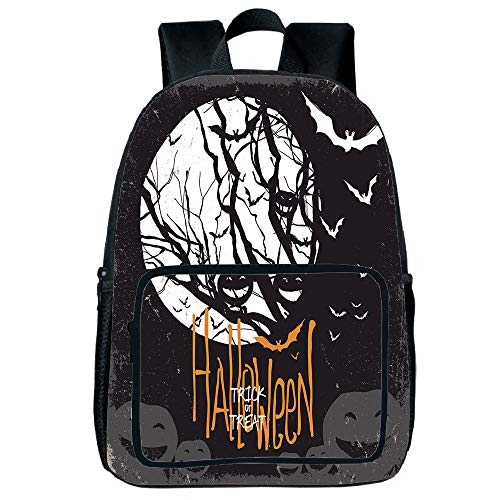 Webkinz Jack - Light Weight Loss Square Front Bag Backpack,Vintage Halloween,Halloween Themed Image with Full Moon and Jack o Lanterns on a Tree Decorative,Black White,for Children,Print Design.15.7