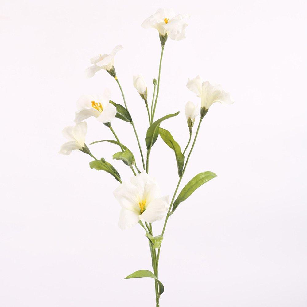 Li Hua CatトランペットフラワーMorning Glory Paulownia花3個人工花5 Headsシルク布花のテーブル装飾パーティープラスチック、ショップ装飾花DIY 80CM ホワイト B07D6JDK9Z ホワイト