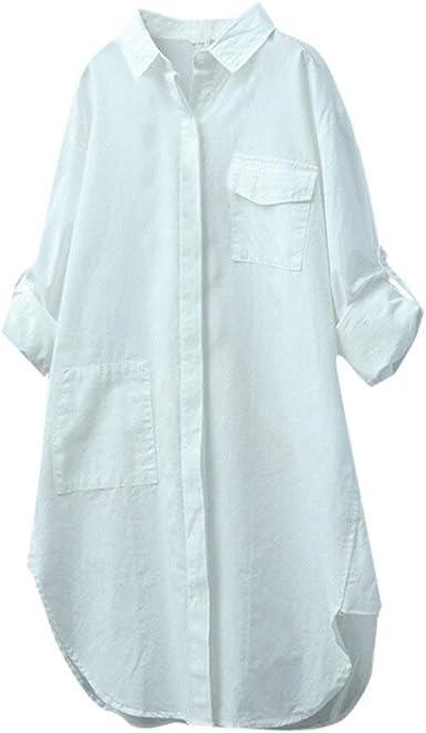 Señoras Chaquetas Liquidación Señoras Lino Algodón Camisa Casual Ropa Festiva Manga Larga Sólida Blusa Botones Camisa Casual Manga Larga: Amazon.es: Ropa y accesorios