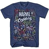 Best Marvel Comics Men Movies - Marvel Men's Comics Crew T-Shirt, Navy Heather, 3XL Review