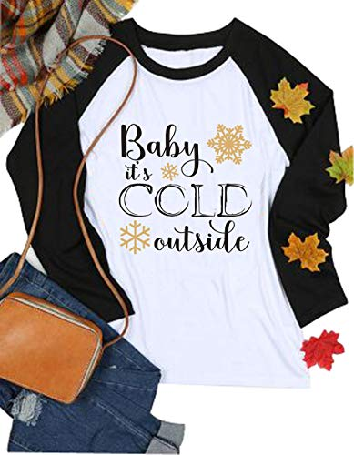 - VILOVE Baby It's Cold Outside Shirts Cute Christmas Snowflake Tshirt Long Sleeve Tops (X-Large, White)
