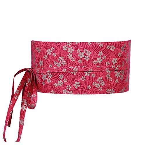 (MAYSONG Women Oriental Geisha Obi Waist Belt Sash Ribbon Tie Red)