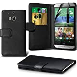 Fone-Case ( Black ) HTC One M8S Case Brand New Luxury BookStyle PU Leather Wallet Flip With Credit / Debit Card Slot Case Skin Cover With LCD Screen Protector Guard, Polishing Cloth & Mini Retractable Stylus Pen