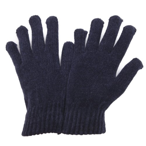 Ladies/Womens Chenille Winter Magic Gloves (One Size) (Navy) (Lady In The Navy Gloves)