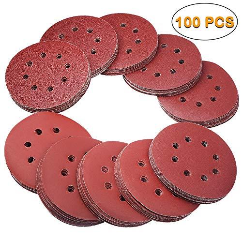 Electop 5 Inch 8 Hole Hook and Loop Sanding Discs Sandpaper Sanding Sheets – 100 Pcs Assorted 40/60/80/120/150/180/240/320/400/600 Grits for Random Orbital Sander Pads Round Sand Paper