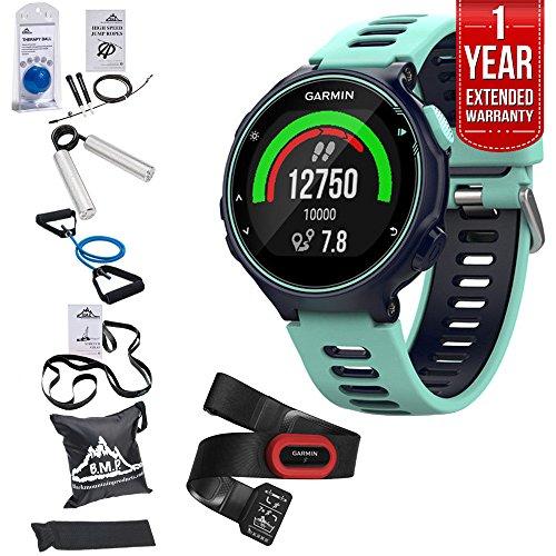 Garmin Forerunner 735XT GPS Running Watch Run-Bundle - Midnight Blue (010-01614-13) + 7 Pieces Fitness Kit + 1 Year Extended Warranty (Jogging 1 Kit)