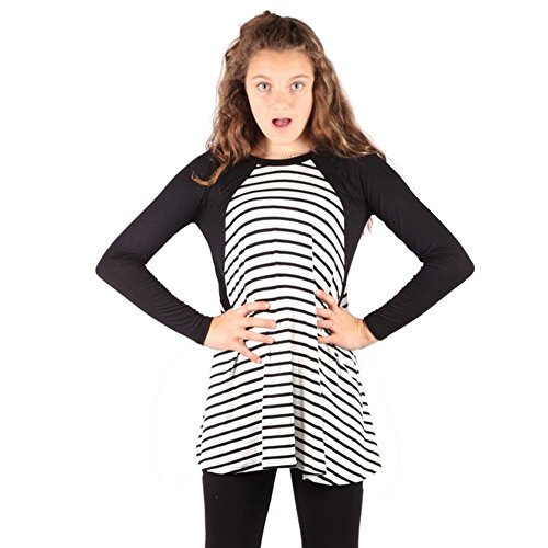 Lori&Jane Girls Black White Stripe Pattern Solid Long Sleeve Trendy Top 6-14
