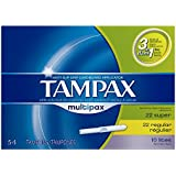 Tampax Tampons with Flushable Cardboard Applicator - Light/Regular/Super - 54 ct