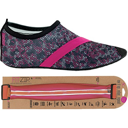FITKICKS Womens Shoes with FITZIP Waist Pack, Primal Snake Shoe Fuchsia