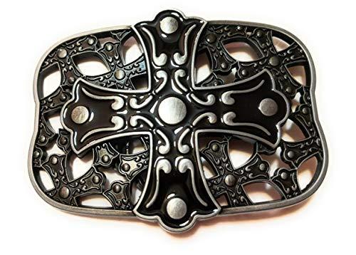 Pewter Belt Buckle Cross - Cross pewter Black Mens Belt Buckle ✖ Celtic Medieval Crosses in background Style Metal Pewter color enamel SuperGifts