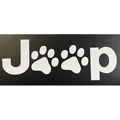 """CMI601 Jeep Wrangler Cat Dog Paw Print Car Window Vinyl Decal Sticker 3""""X7.5"""": Automotive"""