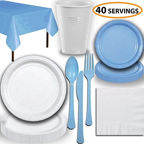 Disposable Party Supplies, Serves 40 - White and Light Blue - Large and Small Paper Plates, 12 oz Plastic Cups, Heavyweight Cutlery, Napkins, and Tablecloths. Full Two-Tone Tableware Set