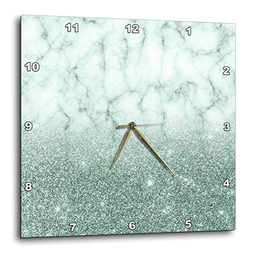 3dRose Anne Marie Baugh - Glitter and Bling - Chic Faux Digitally Printed Aqua Glitter and Marble Flat Design - 10x10 Wall Clock (dpp_289253_1) ()