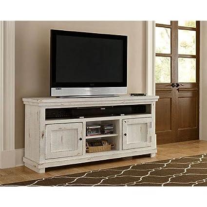 Delightful Progressive Furniture Willow 64u0026quot; Console, Distressed White