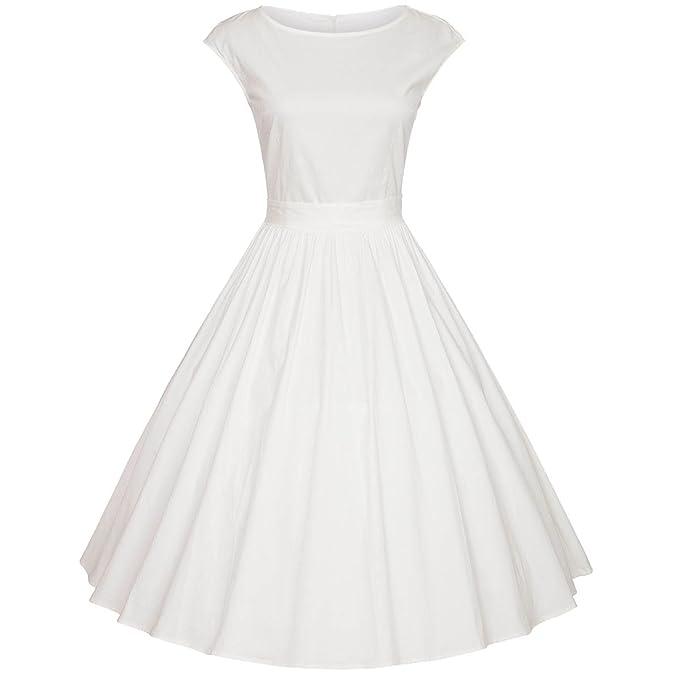 Moollyfox Mujer Vestido Vintage Años 50 Rockabilly Vestidos De Fiesta De Noche Sin Mangas Blanco L