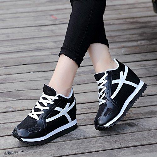 Ciabatta Da Donna Casual Zeppa Scarpe Da Corsa Altezza Aumentata Piattaforma Camminando Sneaker Nero