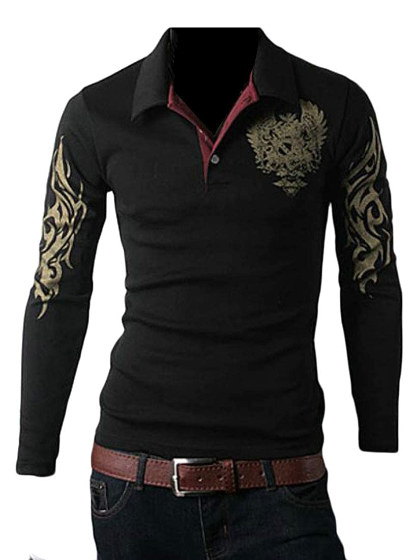 Wofupowga Mens Print Casual Loose Fit Lapel Long Sleeve T Shirts