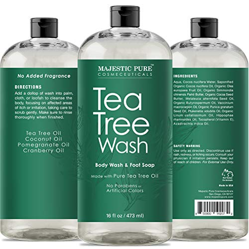 Tea Tree Body Wash, Helps Nail Fungus, Athletes Foot, Ringworms, Jock Itch,  Acne, Eczema & Body Odor, Soothes Itching & Promotes Healthy Feet, Skin