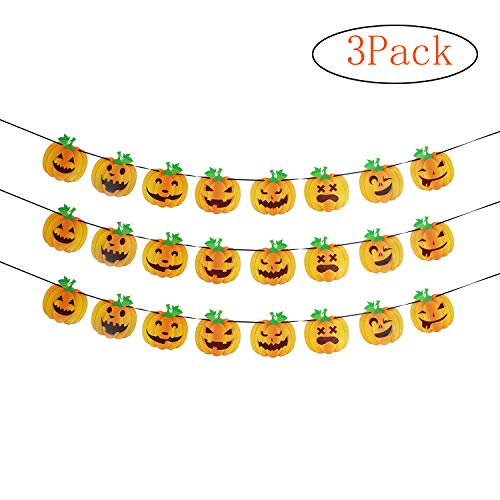3 Pack Happy Halloween 8 Different Pumpkin Grimace Hanging Banner Party Photo Prop Sign Decoration.
