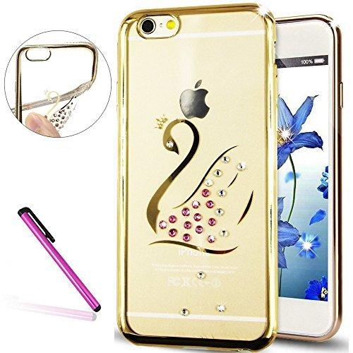 "Stylish 6S Case,iPhone 6 Case,EMAXELER Bling Swarovski Crystal Rhinestone Diamond Case for iPhone 6S,Plating Frame Flexible TPU Case for iPhone 6/6S(4.7"")Swan[Gold]"