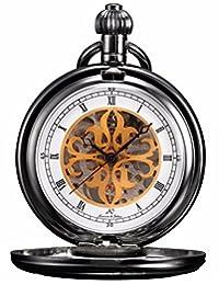 ++Canaloha:)++ KS Unisex Full Hunter Skeleton Hand Winding Mechanical Pocket Watch