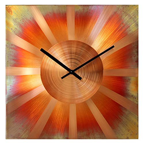 Copper Square Fireplace - Large Square Copper Wall Clock 16-inch - Silent Non Ticking Gift for Home/Office/Kitchen/Bedroom/Living Room