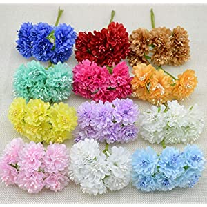 6 pcs/lot Silk Artificial Stamen Bud Bouquet Flower for Home Garden Wedding Car Corsage Decoration Crafts Plants 118