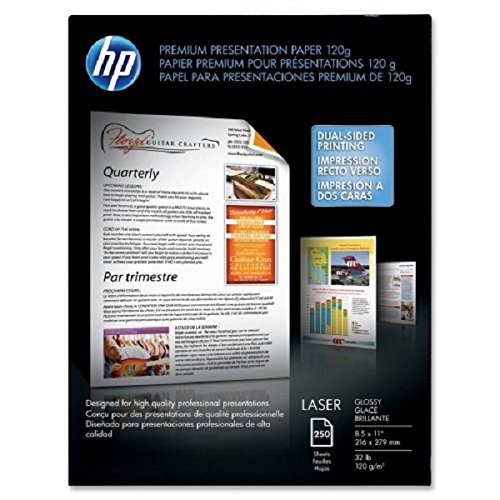 Wholesale CASE of 10 - HP Laser Presentation Glossy Paper-Presentation Paper, GE 97, 32 lb., 8-1/2''x11'', 250/PK, White by HEW