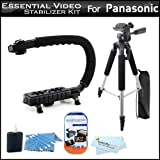 Essential Video Stabilizer Kit For Panasonic SDR-H100K Camcorder Includes AXIS-G Camcorder Action Stabilizing Handle + 57'' Full Tripod w/Case + LCD Screen Protectors + 3pc Cleaning KIt + MicroFiber Cloth
