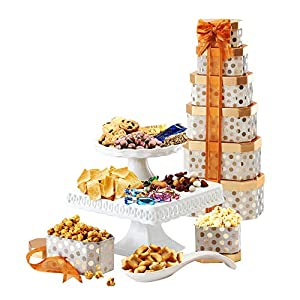 Best Epic Trends 51QmoddXtnL._SS300_ Broadway Basketeers Towering Heights Assorted Chocolate, Cookies and Sweets Gift Tower, Perfect Gift Father's Day…