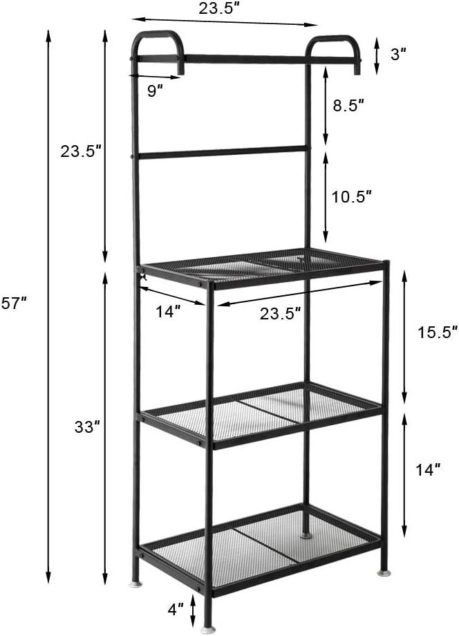 Goujxcy Kitchen Shelf,4-Tier Metal Bakers Rack Organizer Stand Shelf Kitchen Microwave Cart Storage Countertop Dorm Microwave Stand Kitchen Storage Shelving for Kitchen,Black