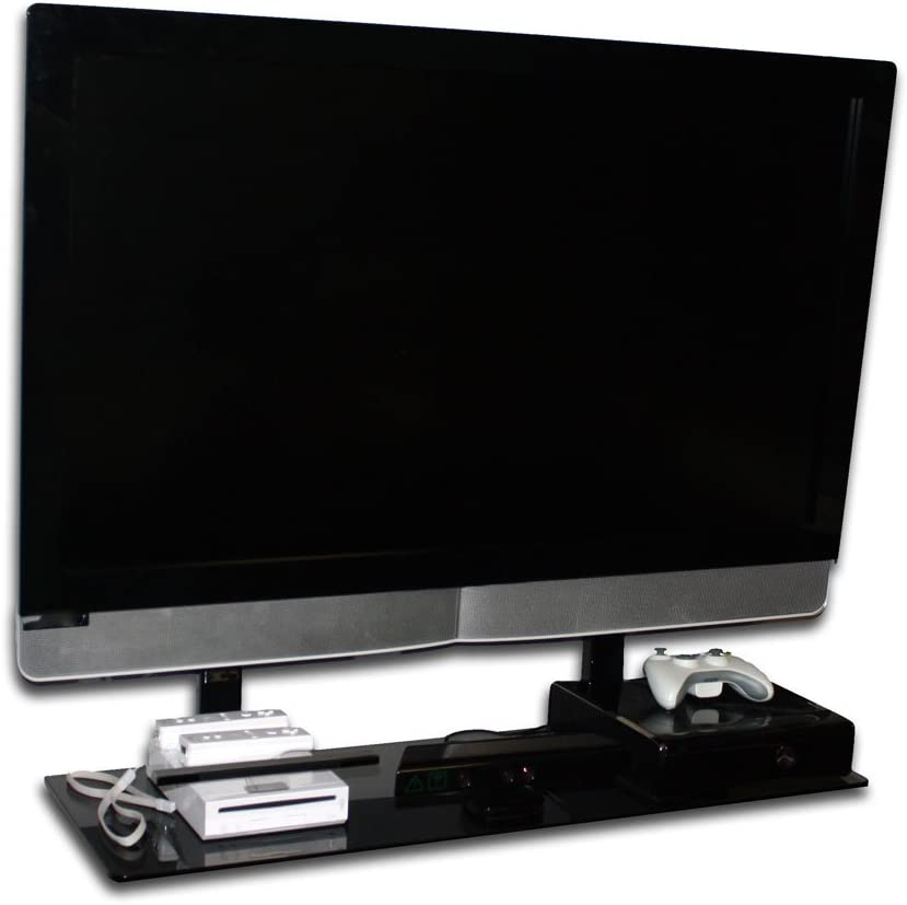 Simple Shelving Solutions BLG-00036 36-Inch Floating Shelf for Stationary and Tilt TV Wall Mount for 32-60 Inch TVs – Black Glass