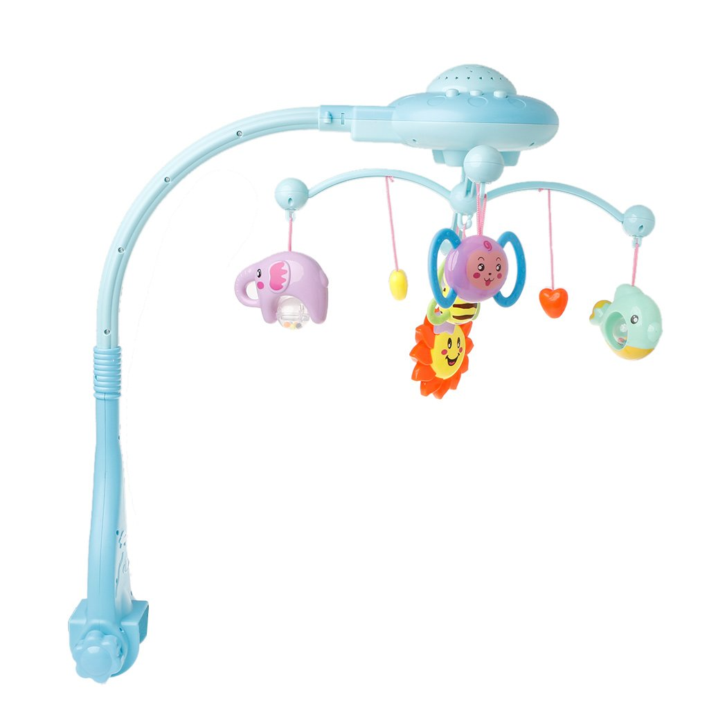 Kofun Bed Bell, Baby Musical Crib Mobile Bed Bell Toys Plastic Hanging Rattles Stars Light Flash Ideal Christmas Birthday Music Toy Gift for Kids Blue