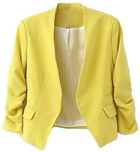 [Ming ditian Popular Womens Casual Folding Sleeve Short Slim Solid Blazers Yellow Large] (80s Fancy Dress Ideas Men)
