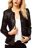 Women Elegant Long Sleeve Paillettes Sequins Office Blazer OL Business Suits Outcoat