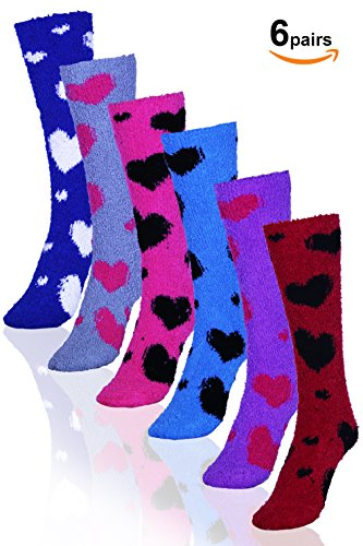 Soft Knee High Socks (Basico Microfiber Fuzzy Winter Socks Knee High 6pairs (1pack) (New)