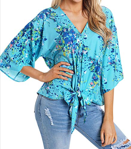 4 Blouses Tee Casual Youngirt Camisetas Claro Verano T Mujeres Moda Camisas V Manga Impresión Remata 3 Azul Tops Cuello shirt qf6fTwn48