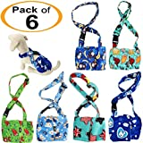 FunnyDogClothes Dog Diaper for Male Boy Belly Band Reusable Washable with Suspenders Soft Fleece (L: Waist 16'' - 19'', Pack of 6 Colors)