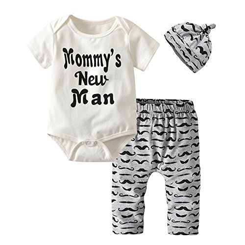 3Pcs Newborn Baby Boys Clothes Mommy's New Man Romper Moustache Pants Hat Outfits Set (0-6 Months)