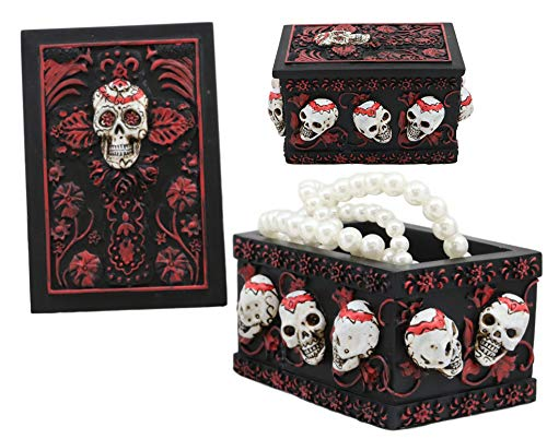 Ebros Day of The Dead Red Floral Sugar Skull Small Jewelry Box 4.25 Inch Long Stash Storage Container Trinket Keepsake DOD Skeleton Heads Ossuary Macabre Halloween Decor Figurine -