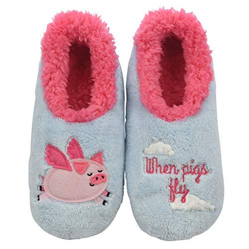 Snoozies Womens Classic Splitz Applique Slipper Socks | Pigs Fly | Large