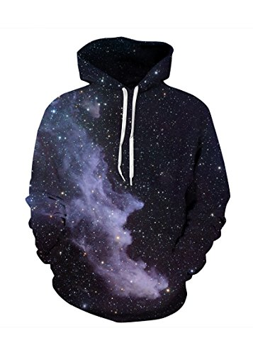 S/s Hoody Sweatshirts (sankill Unisex Harajuku Realistic 3d Digital Pullover Sweatshirt Hoodie Hooded Sweatshirt Pockets S-3XL (s/m, black galaxy))