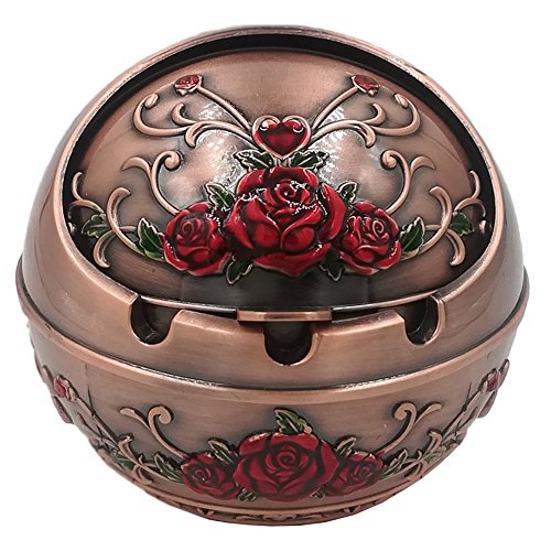 Honoro Windproof Ashtray with Lid for Outdoor and Indoor Use,Metal Portable Cigarette Ashtray with Gift Box,Red Rose,Red Bronze (Red Ashtray)